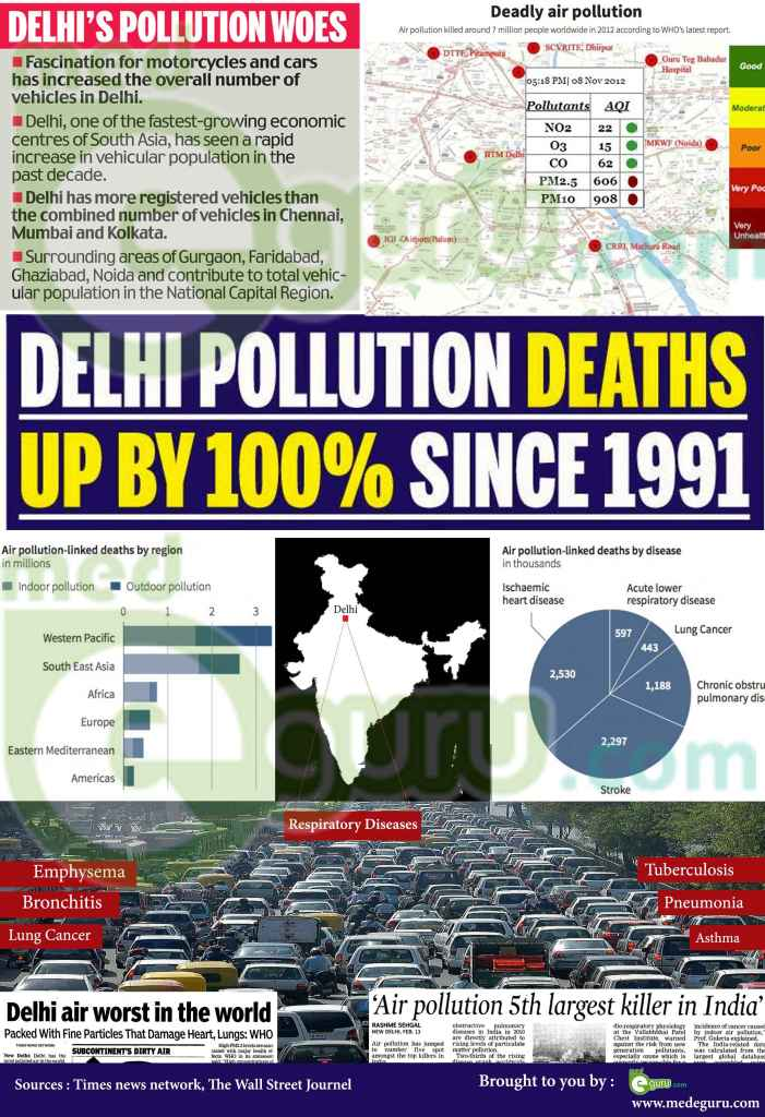 Air pollution Delhi infographics